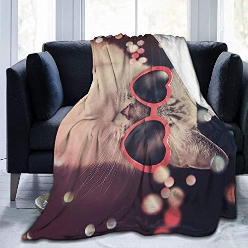 Manta Para Blanket Lindo gato con gafas de sol Manta de tiro Manta ultra suave Manta gruesa cálida Mantas Para 60'x50'