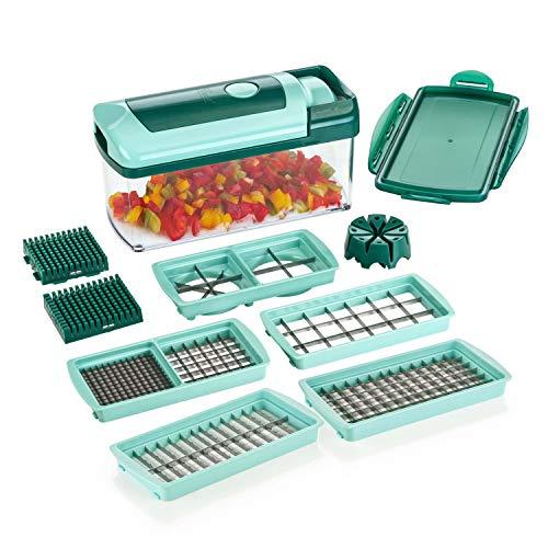 Genius Nicer Dicer Fusion Gemüseschneider-Set 12tlg - Zerkleinerer mit Auffangbehälter + XXL-Messereinsätze | Würfel, Stifte, Viertel & Achtel