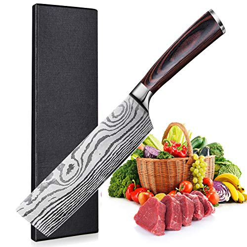 Cuchillo de Chef Chino de 17cm - Cuchillo Cocina, Cuchillo de Cocinero Chino, Alemán Cuchillo de Carne de Acero Inoxidable con Mango de Madera Ergonómico para cocina y restaurante