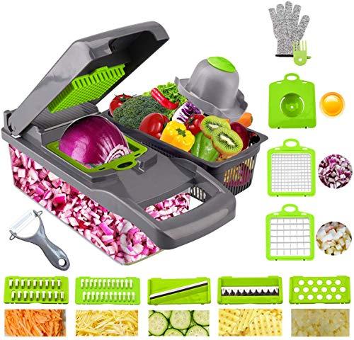 Ram® Mandolina 13 en 1 cortador de verduras y triturador de alimentos Dicer Dicer cuchillas intercambiables, picador, recipiente de alimentos, todo en uno