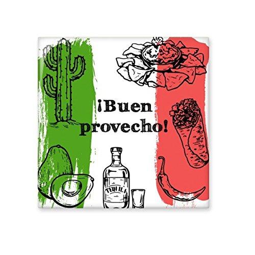 Mexico-cultuur schets Mexicaanse keuken nationale vlag voedsel ronde vorm Cactus keramische bisque tegels voor het verfraaien badkamer decor keuken keramische tegels wandtegels S
