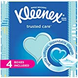 Kleenex Trusted Care Everyday Facial Tissues, Cube Box, 55 Tissues per Cube Box, 4 Packs