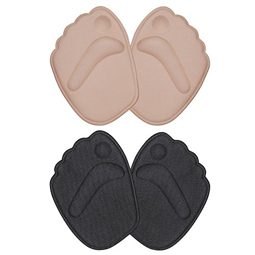 High Heel Foot Cushion, 2 Pairs of Non Slip Gel Pads for Quick Metatarsus Self-Adhesive Pain Relief for Women (Beige and Black)
