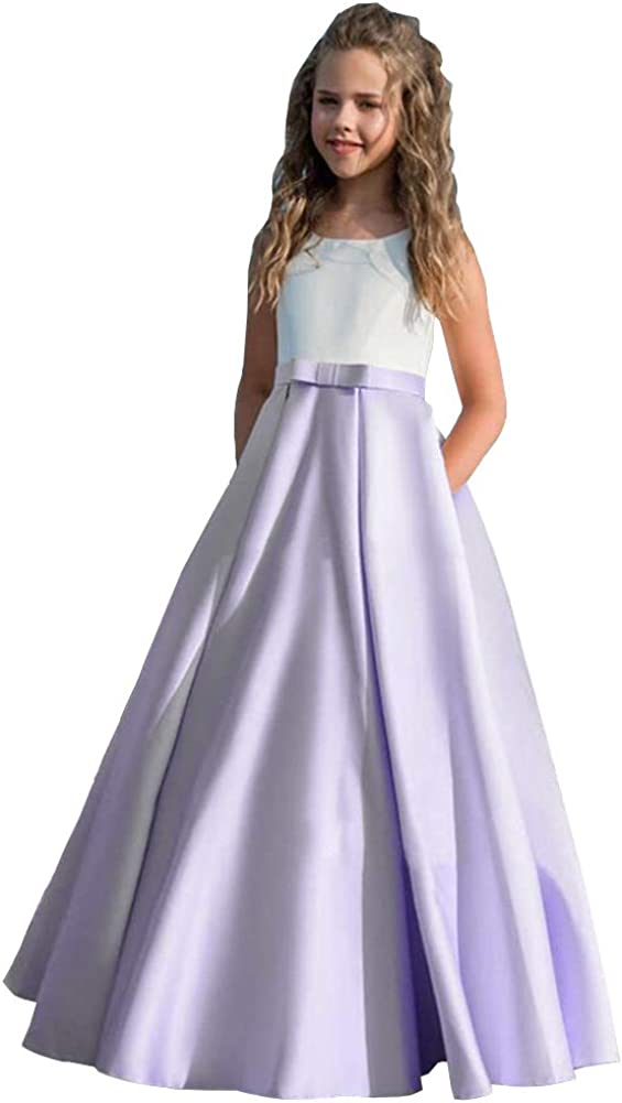 Honeydress Girl's Simple Satin Flower Girl Dress with Pockets A Line Pageant Dress for Kids Birthday Party