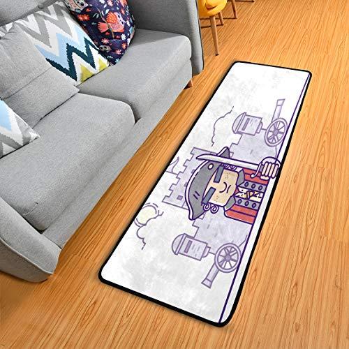 ALINLO Fußmatte kolonial lustiger Cartoon, rutschfester Läufer, Teppich für Flur, Eingangsbereich, 61 x 183 cm