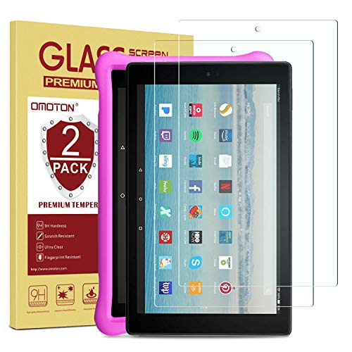 [2-Pack] OMOTON Screen Protector for Fire HD 10 / Fire HD 10 Kids Edition 9th and 7th Generation (2019 and 2017 Release), Tempered Glass/HD / 9H Hardness