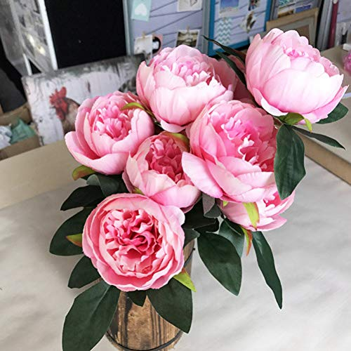 XHDXAD 10 Cabezas Blanco/Rojo/Rosa/Púrpura Peonía Tela De Seda Bouquet De Flores Artificiales De Plástico para La Decoración De La Fiesta De Bodas