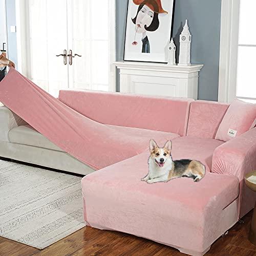 2 PCS fundas de sofa seccional elásticas gruesas para perros gatos mascotas niños,funda de sofá en forma de L para sala de estar,Juegos de Sofás protectores para niños (2 fundas de almohada grat