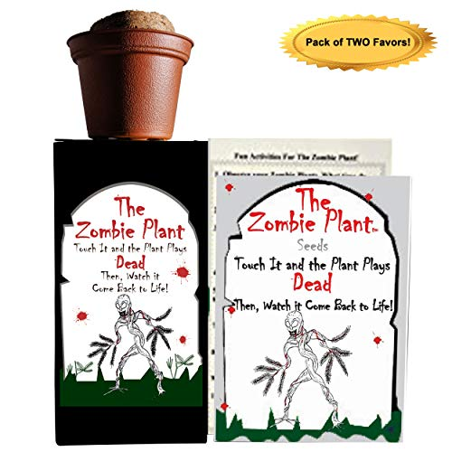 Zombie Plant Party Favors (2) or Christmas Stocking Stuffer - Plays Dead When Touched. Includes Soil, Seeds & Mini Flower Pot. Supplies for Zombie Themed Birthday. Plant it as a Party Activity