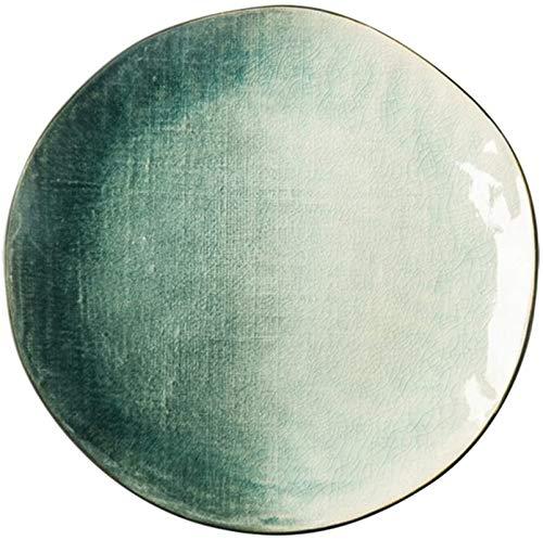 TREEECFCST Platos Vajilla El Estilo Occidental Placa de Postre Tortilla Placa de Cocina Bandeja Cubiertos (Color: Verde, Tamaño: 27 cm) (Color : Green, Talla : 27cm)