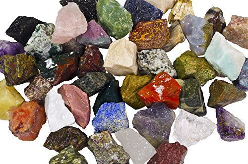"""3 lbs of a Bulk Rough Asia Stone Mix - with 40 Exotic Stone Types - Large 1"""" Natural Raw Stones & Fountain Rocks for Tumbling, Cabbing, Polishing, Wire Wrapping, Wicca & Reiki Crystal Healing"""