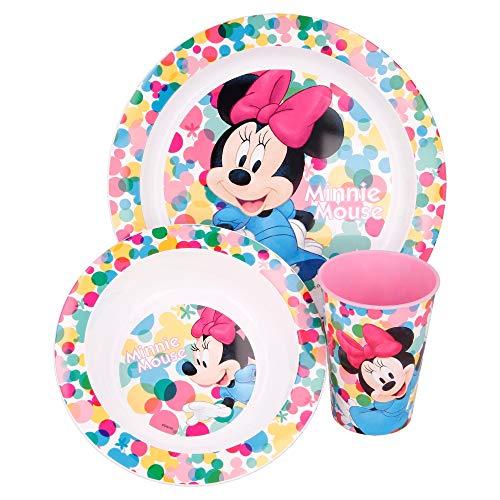 MINNIE MOUSE   Set Vajilla Infantil - Apta para microondas   Servicio de Mesa libre de BPA para niños y bebés - 3 Piezas: Vaso, Plato y Cuenco
