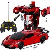 Maweiwei-Store Bumblebee Rambo Voiture télécommandée en 1 clic Déformation Télécommande Robot de déformation Robot King Kong Geste Induction Déformation Voiture Jouet (Color : Red)