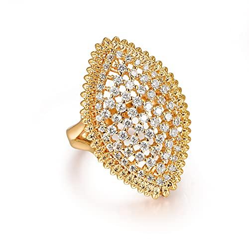JIUXIAO Anillos geométricos de circonita cúbica Hueca para Mujer, Moda de Fiesta, Anillo de Dedo Grande de Oro Blanco,Regalo de joyería deModa