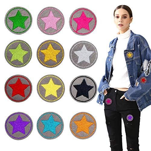 TaimeiMao 12Pcs Aufnäher Kinder Bügelflicken-Set,Flicken PatchesKnie,Applikationen Kinder zum aufnähen geeignet,Aufbügelflicken Applikation Stern,Patch Sticker,Jeans Kleidung Patches