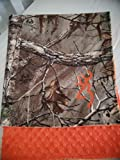Baby RealTree Camouflage Travel blanket,orange dot minky,Super soft Fleece camo and minky,double sided,reversible,deer hunting camo,Personalized baby gift,swaddling,receiving
