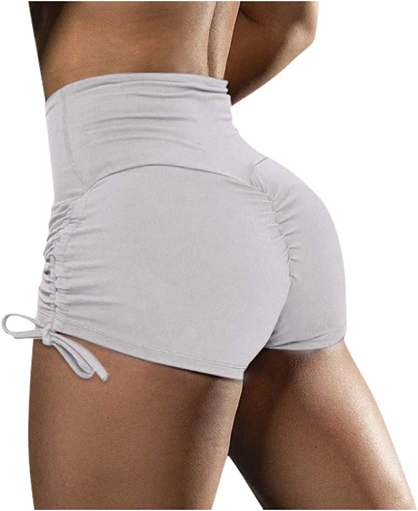 aihihe Womens Scrunch Booty Workout Shorts with Adjustable Side Ties High Waisted Butt Lifting Gym Pants Leggings(White,M)
