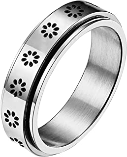 Sponsored Ad - nylry Titanium Stainless Steel Anxiety Ring Flower Spinner Rings Silver Rose Gold Sun Moon Star Fidget Ring...