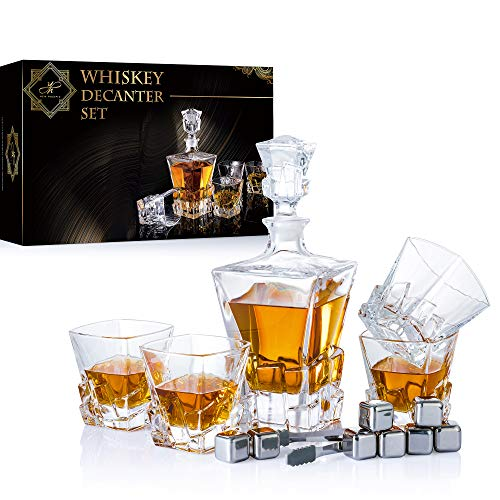 YouYah Whiskey Decanter Set with 4 Crystal Glasses,8 Stainless Steel Ice Cubes & Tong,Whiskey Gifts for Men,Rocks Glass,Lowball Bar Glass for Cocktails,Scotch,Bourbon,Cognac (Cone + 8 Cubes)