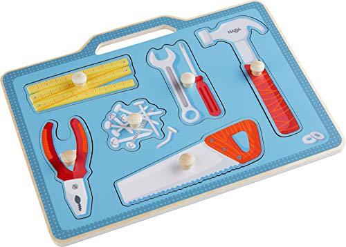HABA 304593 - Greifpuzzle Werkzeugkasten, 6-teiliges Holzpuzzle mit Werkzeug-Motiven und großen, griffigen Holzknöpfen, Holzspielzeug ab 12 Monaten