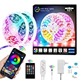 750 LED Strip Lights for Bedroom 82FT 24V Battery Powered Smart RGB Led Strip Lights with Remote & MIC, Series or Parallel Bluetooth LED Rope Light Music Sync DIY Color Changing Light for Bar Party TV