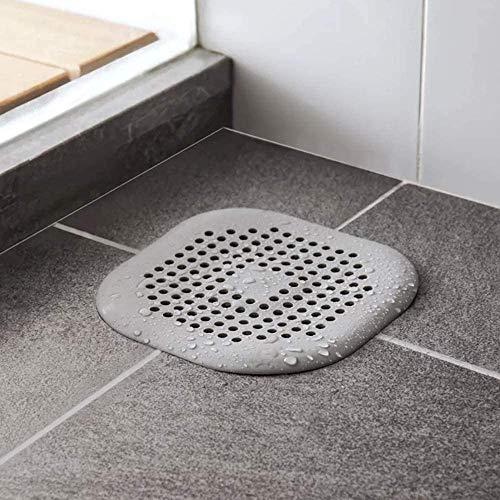Abflusssieb Silikon mit Saugnapf Abfluss Haarsieb Waschbecken Sieb Drain Sieb Kanalfilter Wasser Stopper für Küche Badezimmer 14x14cm Grau