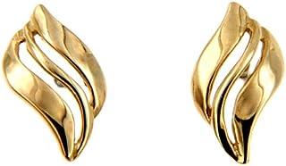 Lucchetta Donna - Orecchini a Lobo forme Ondulate Oro Giallo 14 carati - BR1789