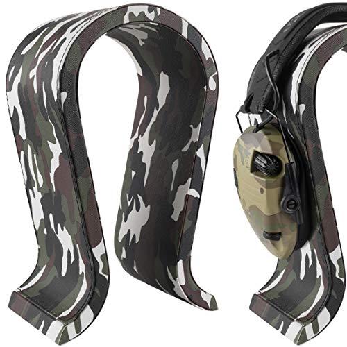 Geekria Läderstativ för hörlurar, stativ i trä, hörlurshållare, lämplig för fotografering av hörlurar, spelheadset, hörlursställ – kamouflage