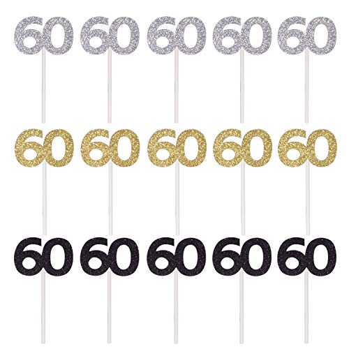 Qibote 36 Pieces Glitter Number 60 Cupcake Toppers for 60th Birthday Cupcake Decoration 60 Birthday Party Supplies