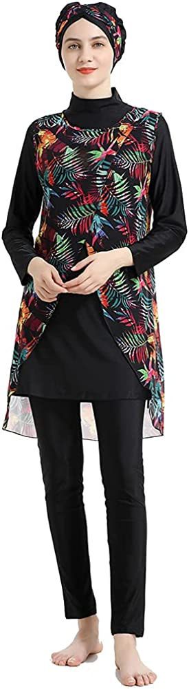 Wowdecor Muslim Swimsuits for Women Printed 3 Pieces Fully Covered Swimwear Rash Guard Burkini with Detachable Hijab