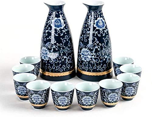 LCJD Juego de 12 Piezas de Sake japonés, artesanía en Relieve Phnom Pintada de cerámica, Juego de Copas de Vino con 2 Botellas para Servir Sake y 10 Tazas de Sake, para Regalo de Sake frío y Cali