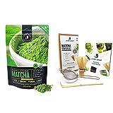Jade Leaf Matcha + Tea Set Bundle - Organic Matcha Green Tea Powder Culinary Pouch (100g) and Traditional Matcha Starter Set