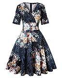 Women's Classy Vintage Floral Hepburn Style 1940's Rockabilly Evening Dress (Floral Black,Size M)