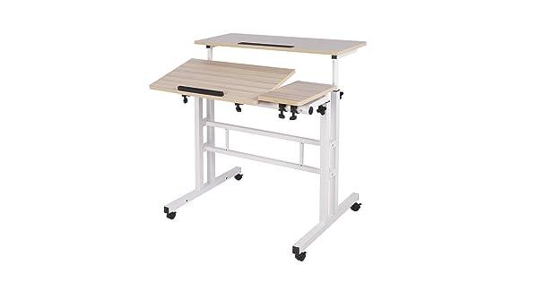 Maple 101-2MP-DCA DlandHome Sit-Stand Desk Cart Mobile Height-Adjustable Sit to Stand Office Desk Riser Standing Table Workstation Mobile Desk