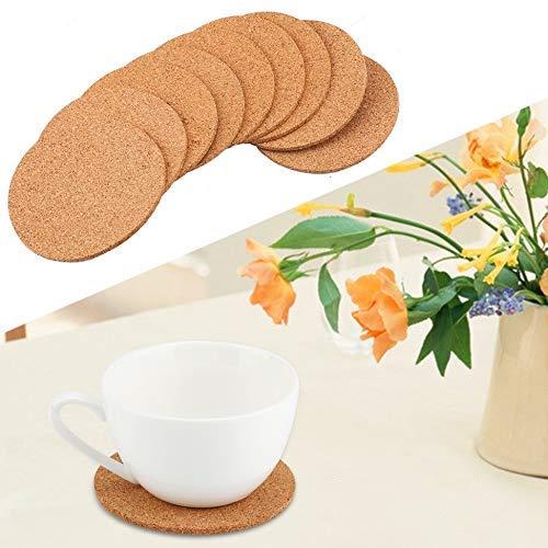 Natural redondo de madera café posavasos taza de té estera resistente al calor alfombra de corcho té beber, vino Pad mesa decoración cumpleaños regalo de boda (100 unidades)