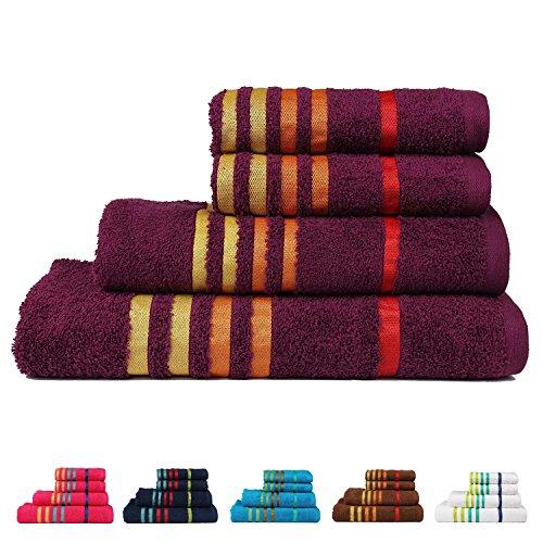 CASA COPENHAGEN Exotic Collezione - Set di 4 Asciugamani in Cotone - 2 Asciugamani da Bagno e 2 per Le Mani, qualità 475 g/m², Colore: Viola