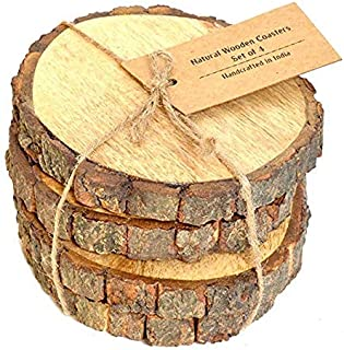 Casa Decor Large Natural Mango Tree Bark Wooden Coasters with Hemp Tie -5 inch, Brown