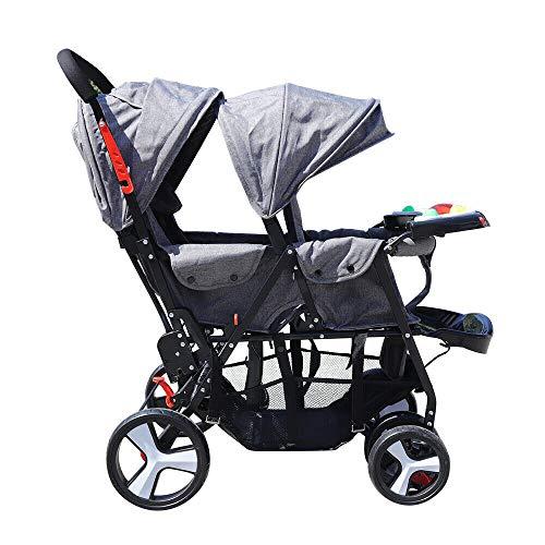 Geschwisterwagen Kinderwagen Buggy Baby Zwillingswagen Falte Geschwister,Faltbares Design(Vordersitz:für 7 bis 36 Monaten ;Rücksitz:für 6 bis 36 Monaten) (grau)