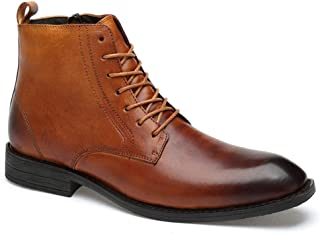 Sygjal Men's Oxford Genuine Leather Side Zipper Short Boots For Business Affairs Casual Formal Shoes (Color : Wine, Size : 46 EU)