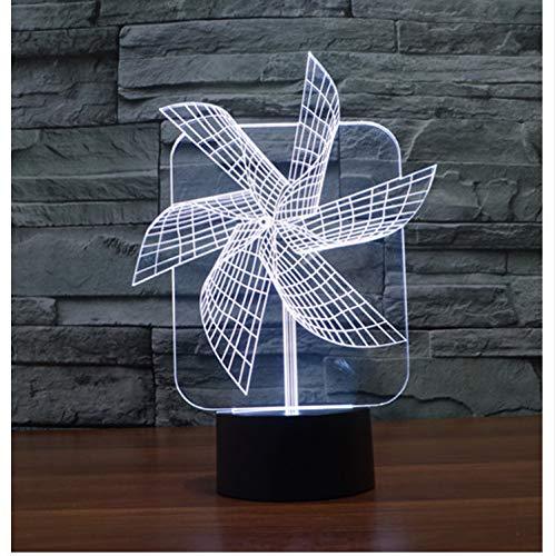 Lava Lamp Big Pinwheel Night Light 7 colori oscuranti Illusion Camera da letto Luce vacanza novità giocattoli per bambini per il regalo del partito 3D Led