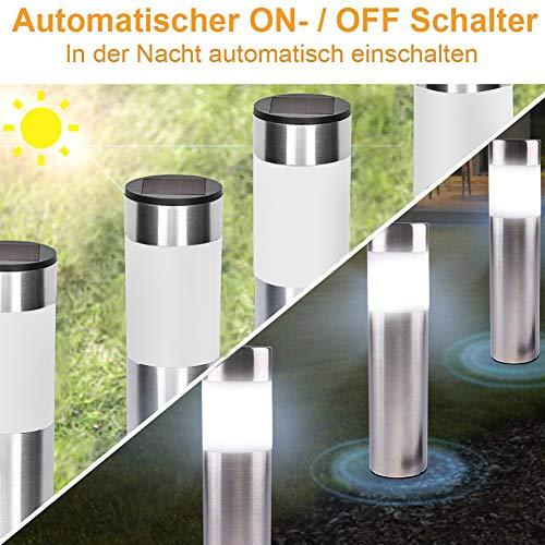 Solarleuchte Edelstahl 6 Stücke LED Solarlampe mit Dämmerungssensor Garten Solar Wegeleuchte wasserdicht mit Erdspieß Automatisch Ein/Aus Außen weiß Beleuchtung Zylinder Design, 21cm hoch