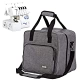 HOMEST Serger Carrying Case, Universal Overlock Sewing Machine Tote Bag with Shoulder Strap & Strong Handles, Compatible with Brother, Singer, Juki, Grey (Patent Design)