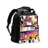 Divertido Minivan Caravana Hippie Hippie Bohemio Gran Capacidad Multifunción Bolsa de Pañales Mamá Papá Bolsa de Cuidado de Bebé Bolsa de Pañales Bolsa de Enfermería