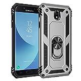 BestST Funda para Samsung Galaxy J7 2017/J730,Elegante Armadura híbrida Robusta Funda de Doble Capa de Alta Resistencia para PC Duro Caso con Anillo Grip Kickstand con HD Protector de Pantalla,-Plata