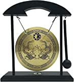 Mose Cafolo Zen Art Brass Feng Shui Desktop Table Gong, Dragon with Taiji Symbols, Makes Clear Sound, Collectible Figurines