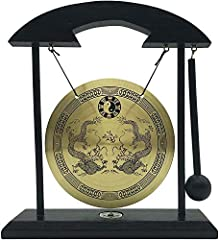 """Feng Shui Table Gong with Dragons & Taiji Symbols. Size: 9""""(H) x 7.5""""(L) x 1.75""""(D) approx. Gong Measurement: 5""""(D) Material: Wood and Copper Idea for self-meditation. Perfect home decor to create Zen environment at home or in office. Good Feng Shui!..."""