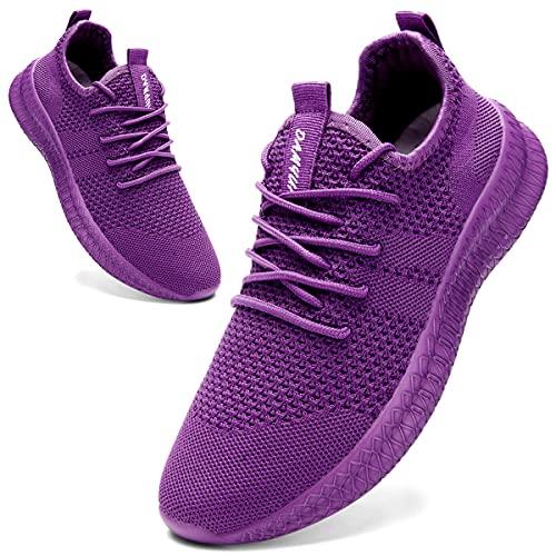 AZSDXS Zapatillas de deporte para mujer, ligeras, transpirables, para correr, caminar, tenis, fitness, correr, actividades al aire libre, morado, 36 EU