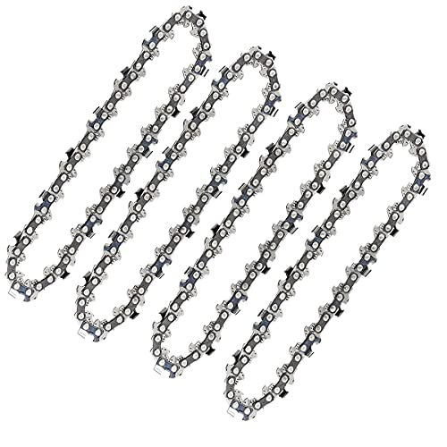 4 Inch Mini Chainsaw Chain, Replacement Cordless Battery Powered Electric Portable Chainsaw Chain, Mini Cordless Electric Chainsaw Chain for Wood Branch Pruning Trimming Cutting (4 pcs)