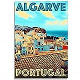 Shmjql Portugal Algarve Pintura Hermosa Playa Sol Abstracto Lienzo Póster Arte De La Pared Decoración del Hogar-50X70Cmx1 Sin Marco