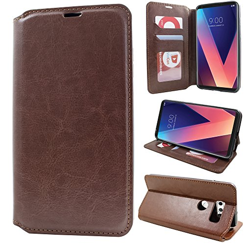 LG V30 Case,Premium Flip Leather Wallet Case Stand Kickstand Card Slot Closure Full Body Protective Cover Clear TPU Bumper Thin Case for LG V30 (Brown)